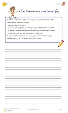 Letter to your teacher - Treasures of Charlemagne French Language Lessons, French Lessons, French Teacher, Teaching French, Daily 5, French Worksheets, French Education, Writing Exercises, French Classroom