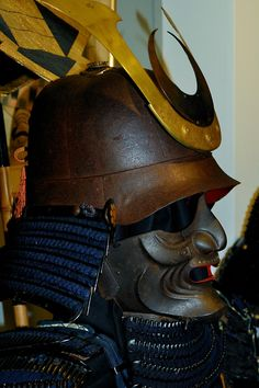 Samurai Kabuto and Mempo. Helmet and Face Shield. Japanese Mask, Japanese Warrior, Japanese Sword, Samurai Helmet, Samurai Armor, Martial, Geisha, The Last Samurai, Medieval Armor