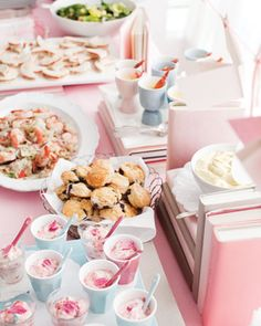 -Mary Quite Contrary Garden Salad    -Peter Piper Pickled Prawns    -Little Boy Blueberry Scones/Muffins    -Little Miss Muffet's Lemon Curd/Custard  -Humpty Dumpty Custard Cups  -Jack and Jill Jasmine Tea  -Hush-a-bye Bellinis