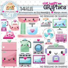 Appliance Clipart, Appliance Graphics, COMMERCIAL USE, Kawaii Clipart, Planner Accessories, Supplies Clipart, Home Clipart, Chore Clipart