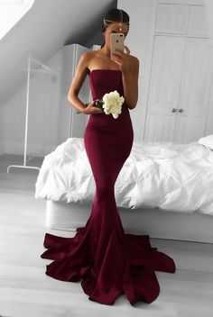 Formal Prom Dresses, 2018 Sexy Strapless Burgundy Mermaid Long Prom Dress Formal Evening Dress Whether you prefer short prom dresses, long prom gowns, or high-low dresses for prom, find your ideal prom dress for 2020 Prom Dresses 2018, Mermaid Prom Dresses, Cheap Prom Dresses, Prom Party Dresses, Ball Dresses, Sexy Dresses, Ball Gowns, Long Dresses, Party Gowns