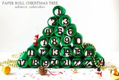 Paper Roll Christmas Tree Advent Calendar by Squirrelly Minds
