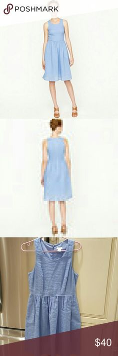 PUCKERED JCREW DRESS PERIWINKLE Mint and great condition! Never worn! Jcrew dress. Size 6. Hits at knee J. Crew Dresses