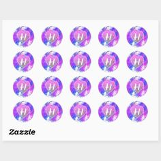 Pink Purple paint Splash | Glitter Heart Monogram Classic Round Sticker!