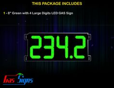 8 Inch Gas Price LED Sign (Digital) Green with 4 Large Digits with housing dimension H293mm x W632mm x D55mmand format 888.8 comes with complete set of Control Box, Power Cable, Signal Cable & 2 RF Remote Controls (Free remote controls).