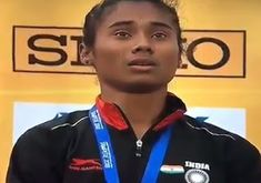Hima Das was seen in tears during the national anthem after receiving her gold medal at the IAAF World . National Anthem, Golden Girls, Olympics, Crying, Athlete, In This Moment, History, Sports, India