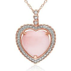 Heart Shaped Pink Opal and Diamond Accent Heart Pendant in Rose Rhodium Plated Sterling Silver