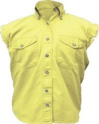 Allstate Womens Yellow Denim Cut Off Classic Sleeveless Motorcycle Shirt