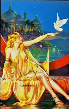 "calendar pin-up painting by Henry Clive. Created in 1925, Sultana is in all regards the artist's signature and defining creation, featuring an exotic nearly nude dreamy enchantress in an Art Deco Egyptian fantasy dreamscape. This print was later released in 1949 under the title ""Lucky Dove"""