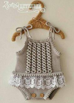 Embroidered Baby Vest Making - Babykleidung Baby Romper Pattern Free, Crochet Baby Dress Pattern, Knit Baby Dress, Baby Knitting Patterns, Baby Patterns, Free Pattern, Knitting For Kids, Crochet For Kids, Free Crochet