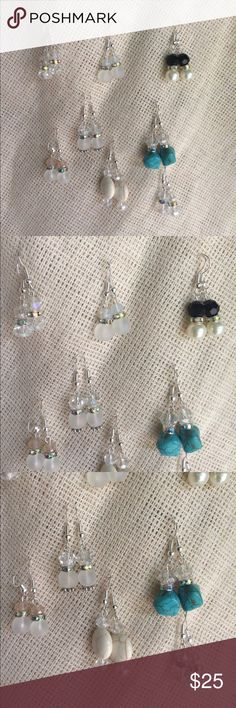 **Sale Turquoise glass pearl crystal earring Lot 8 Turquoise glass pearl and crystal earrings Lot of 8 ..... huge lot smoke free home if you have any questions let me know....from Texas Btq Jewelry Earrings
