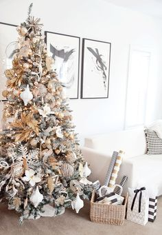 Refreshing Old Greenery: Em's Gold and White Christmas Tree