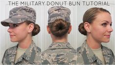 """Military Donut Bun Tutorial - After being at Air Force Basic Military Training for about two weeks with short hair that would just not stay up in any kind of bun, I decided to try the """"so… - Air Force Basic Training, Army Basic Training, Military Training, Military Bun, Navy Military, Army Haircut, Donut Bun Hairstyles, Updo Hairstyle, Wedding Hairstyles"""