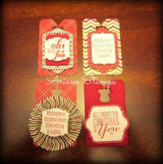 Ariane Stamps, Stampin' Up! Chalk Talk dies, Christmas Messages stamps, Christmas tags