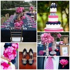 Hot pink and navy blue wedding