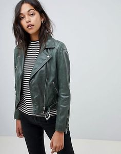 Shop Lab Leather Biker Jacket in Green at ASOS. Order now with multiple payment and delivery options, including free and unlimited next day delivery (Ts&Cs apply). Biker Jacket Outfit, Leather Jacket Outfits, Vest Jacket, Green Leather Jackets, Brown Suede Jacket, Style Vert, Student Fashion, Mode Online, Celebrity Outfits