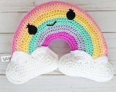 Crochet Toy Patterns / Rainbow Pattern / Sun and Cloud pattern / Weather nursery / Sun Pillow / Plushie pillow pattern / amigurumi rainbow Crochet Pillow Pattern, Crochet Toys Patterns, Stuffed Toys Patterns, Crochet Ideas, Pillow Patterns, Amigurumi Patterns, Basic Crochet Stitches, Crochet Basics, Baby Gifts To Make