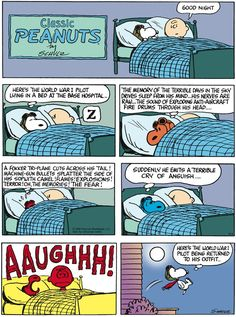 """Schulz's classic """"Peanuts"""" looks at the lives of Charlie Brown, Snoopy, and other favorite characters. Snoopy Comics, Peanuts Comics, Snoopy Cartoon, Peanuts Cartoon, Peanuts Snoopy, War Comics, Snoopy Quotes, Peanuts Quotes, Flying Ace"""