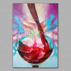 Oil Paintings One Panel Modern Still Life Wine Cup  Hand-painted Canvas Ready to Hang 2017 - $52.13