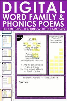 Digital Poetry, Digital Word, Phonics Activities, Work Activities, Special Education Classroom, Online Classroom, Word Study, Word Work, 2nd Grade Reading