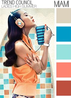 Goodbye neon, hello pastels. Colour trends heading our way are hot pastels. Miami heat, tropics faded by the warm sun into soft melon, cool aqua, warm peach & sandy beige.