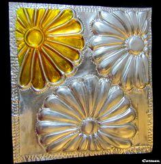 Girasoles con vitral y repujado en aluminio...