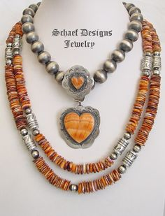 Schaef Designs Orange Spiny Oyster Shell & sterling silver double heart Southwestern Pendant | New Mexico