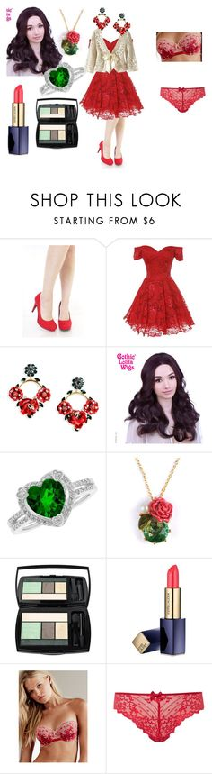 """Happy Valentine's Day (2016)"" by ladymienshao ❤ liked on Polyvore featuring Dolce&Gabbana, Reeds Jewelers, Les Néréides, Lancôme, Estée Lauder, Victoria's Secret and Chantelle"