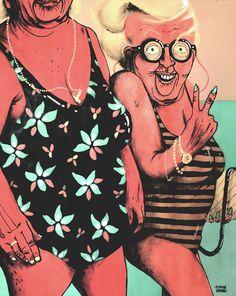 Summer Beaches by Marina Capdevila, via Behance London Illustration, Illustration Art, Graffiti, Art For Art Sake, Woman Face, Female Characters, Summer Beach, Screen Printing, Modern Art