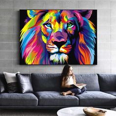Us 281 46 Off Watercolor Lion Wall Art Canvas Abstract Animals Lion Pop Graffiti Art Paintings On The Wall Cuadros Picture For Baby Room Decor In Abstract Canvas, Canvas Wall Art, Canvas Frame, Canvas Prints, Tableau Pop Art, Lion Wall Art, Watercolor Lion, Lion Painting, Painting Canvas