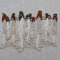 "michellekingdom: ""Duties of gossamer - 6x8"" on linen #embroidery #embroideryart #bordado #broderie """