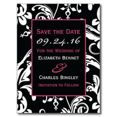 Black & Hot Pink Contemporary Custom Save the Date Post Cards