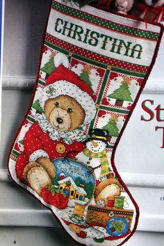 Christmas Teddy Bear Stocking Cross Stitch Pattern from Cross Stitcher August…