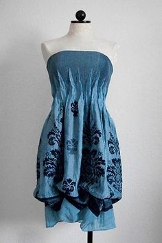 LAPIS Anthropologie Boho Hippie Blue French Floral Convertible Summer Dress OSFM $30