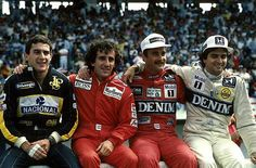 "Os ""caras"" da F1 que emocionaram!!!  Ayrton Senna, Alain Prost, Nigel Mansell and Nelson Piquet, Estoril 1986"