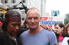 Sting and his wife Trudy Styler joined the protest. #PeoplesClimate #ActOnClimate #NowNotTomorrow