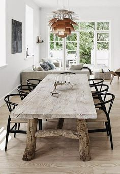 French doors Country Modern Dining - rustic wood table combined with the Poulsen Artichoke light & Wegner's Wishbone chair Modern Dining Table, Rustic Table, Farmhouse Table, Rustic Kitchen, Wood Tables, Dining Table Lighting, Reclaimed Wood Dining Table, Farm Tables, Reclaimed Timber