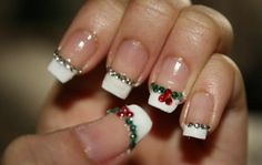 Easy and Best Christmas Nail Art Design ♥ Christmas French Manicure with Rhinestone Nail Stickers #1901192 | Weddbook