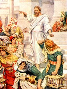 """""""On reaching Jerusalem, Jesus entered the temple courts and BEGAN DRIVING OUT THOSE WHO WERE BUYING and SELLING THERE. He overturned the tables of the money changers and the benches of those selling doves, and would not allow anyone to carry merchandise through the temple courts,"""" Mark 11:15-18. Gospel Quotes, Jesus Quotes, Jesus Resurrection, Jesus Christ, Jesus In The Temple, Gospel Of Mark, Creator Of The Universe, Revelation 22, Roman 1"""