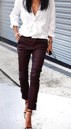white shirt. burgundy skinny trousers. sandals. #work #office outfit.