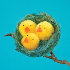 Como hacer un nido con pollitos de fieltro