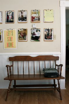 Another killer idea.  How great for kids school photos and awards, add in a few inspirational quotes and pics.  Easily changeable, and how fantastic to be able to use one per, for quick walks down memory lane. MUD ROOM WALL
