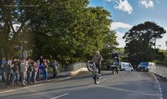 Dougie Lampkin Smoothly over Ballaugh Bridge on his one wheel trip around the TT Course tonight (25th Sept 16).