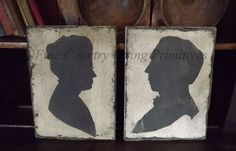 Primitive Colonial Large Handcrafted Couple Silhouettes on Wood
