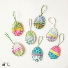 easter DIY Easter Egg Ornaments from Fabric Scraps fabric crafts DIY Easter easter fabric crafts Egg Fabric Ornaments Scraps Easter Arts And Crafts, Egg Crafts, Bunny Crafts, Tape Crafts, Diy Craft Projects, Easter Projects, Easter Ideas, Diy Adornos, Easter Fabric