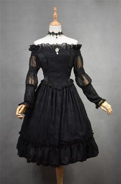 Dracula~ Vintage Court Style Lolita Off Shoulder OP Dress$88.99 - My Lolita Dress