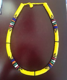 African Zulu beaded rope necklace in yellow