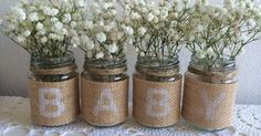 Are you having or organising a baby shower? These little rustic jars would make a pretty addition to your table decorations. Place near the cake or present table and add candles or small posies of flowers. The jars are new and have the letters BABY stencilled