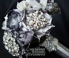 Silver Brooch Wedding Bouquet #timelesstreasure