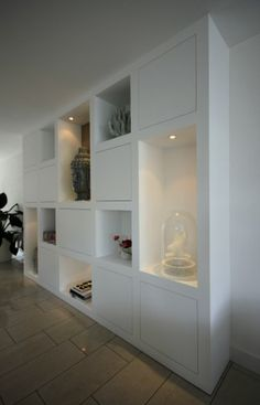Look at the picture of the MELKAInterieurbouw is the title of a cabinet with a box shape. full built-in wardrobe and the other inspiring images Welke. Home Living Room, Interior Design Living Room, Living Area, Deco Dyi, Casa Milano, Built In Storage, My New Room, Built Ins, Home Renovation